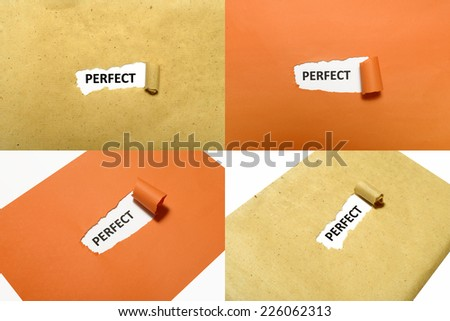 Set of perfect text on orange and brown paper - stock photo