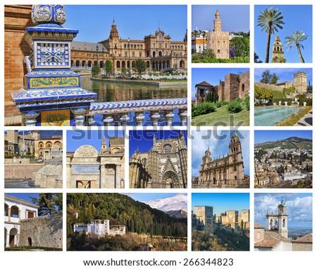 Set of photos - Andalusia landmarks - Sevilla spanish square, golden tower, Malaga Gibralfaro castle, Cordoba Cathedral  and Alcazar, Jaen churches, Granada Alhambra. Aerial view - stock photo