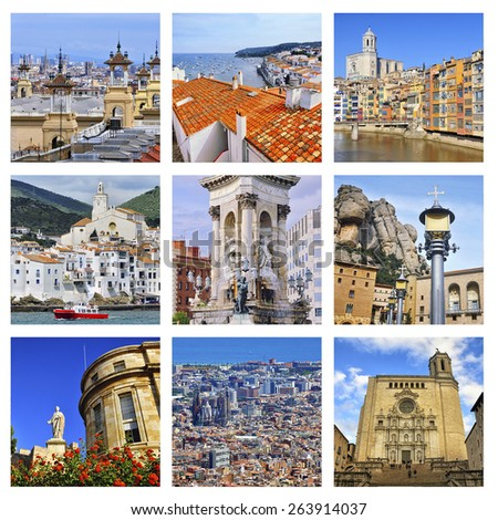 Set of photos - Catalonia, Spain landmarks - Barcelona spanish square, Tarragona museum, Girona colorful houses and Cathedral, Montserrat Monastery, Cadaques city. Aerial view - stock photo