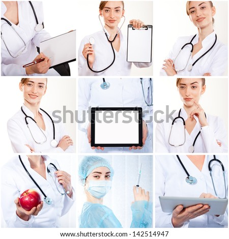 set of photos doctor smiling people - stock photo