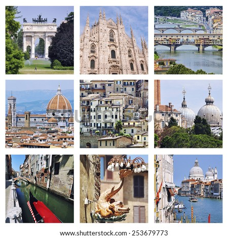 Set of photos - Landmarks of Italy - Venice canals, Milan Cathedral and Sempione park, Florence Old bridge and Siena old houses.  - stock photo