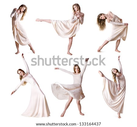 Set of photos modern style dancer isolated over white background - stock photo
