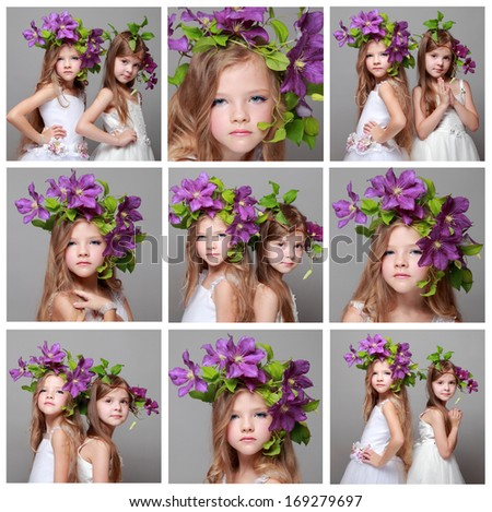 Set of photos of european two little girls with beautiful hair styles with fresh purple clematis on gray background/Collection of two beautiful little girls in white dresses and fresh clematis - stock photo