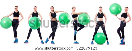 Set of photos with model and swiss ball - stock photo
