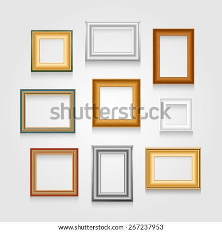Set of picture frames on white wall. Raster version. - stock photo
