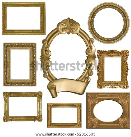 set of  picture gold frame on a white - stock photo