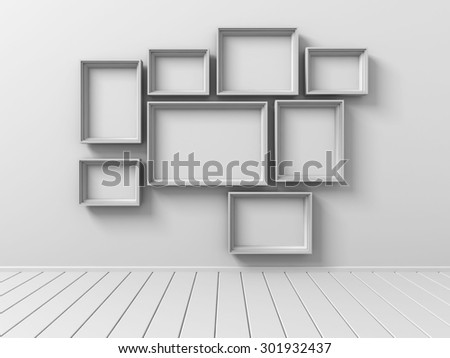 Set Of Picture Photo Frames On The Wall. 3d Render Illustration - stock photo