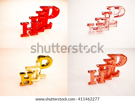 Set of pictures 3D word HELP isolated on white background. 3D illustration. - stock photo