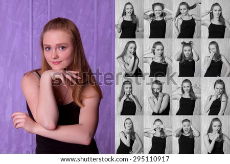 Set of pictures of pretty young woman with different gestures and emotions isolated on purple background - stock photo