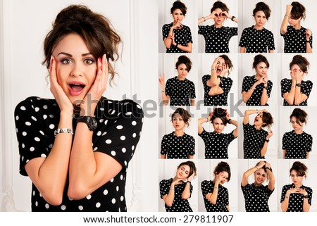 Set of pictures of pretty young woman with different gestures and emotions isolated on white background - stock photo