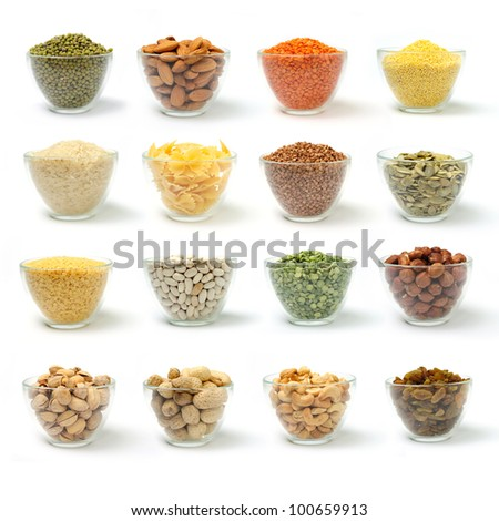 Set of pictures on cereal and nuts in bowls on white background. - stock photo