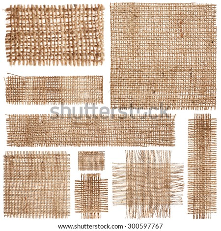 Set of pieces linen fabric isolated on white background - stock photo