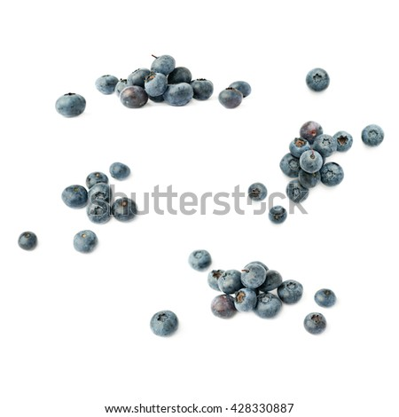 Set of Pile of Ripe bilberry or blueberry over isolated white background - stock photo