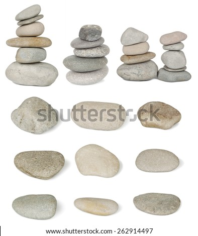 Set of pile stones from the river are isolated on white background - stock photo