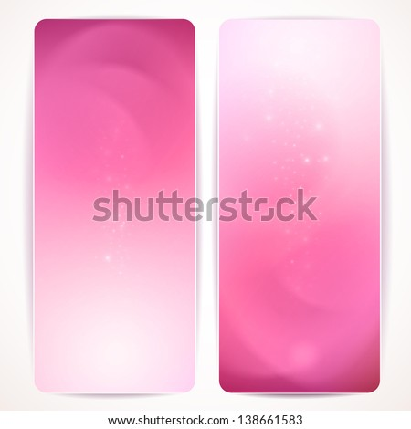 Set of pink abstract vertical banners.  Raster copy of vector. - stock photo