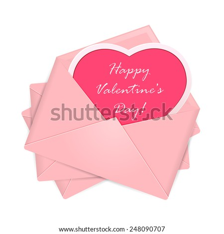 Set of pink envelopes with heart and Valentines congratulations, illustration. - stock photo