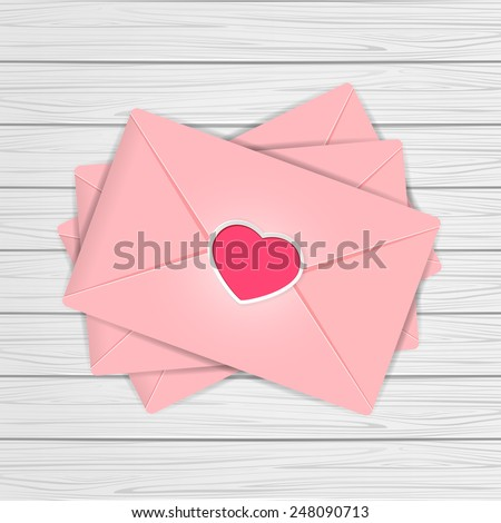 Set of pink envelopes with Valentines heart on wooden background, illustration. - stock photo