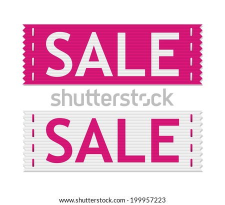 set of pink sale signs on piece of textile (raster version, available as vector too) - stock photo