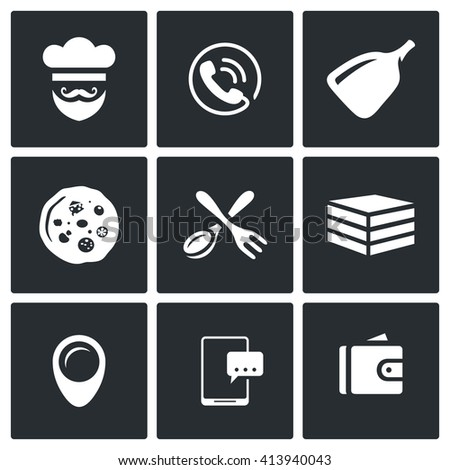 Set of Pizza Delivery Icons. Cook, Order Manager, Shoulder baker, Pizza, Cutlery, Box Food, Address, Booking, Payment. Preparation of food order and delivery to the consumer. - stock photo