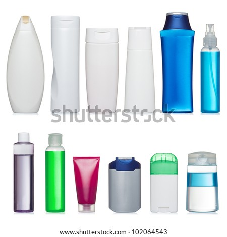 Set of plastic bottles. Scale and and proportion saved. Isolated on white. - stock photo
