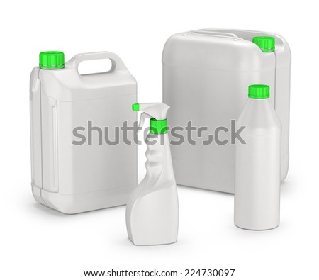 set of plastic canisters and bottles isolated on white background - stock photo
