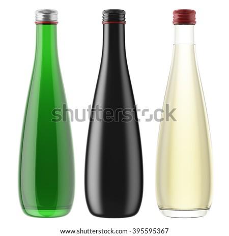 Set of plastic, ceramic or glass bottles isolated on white background. 3D Mock up for your design. Beer, brandy, cosmetics, beverage, lemonade, soda, juice, liquor, syrup, wine. - stock photo