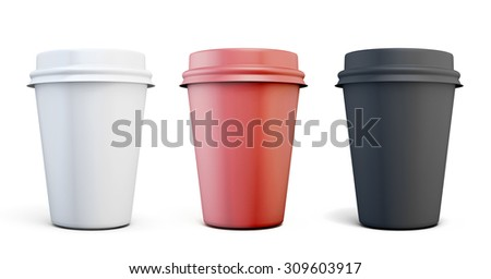 Set of plastic coffee cups of different colors on a white background for your design - stock photo