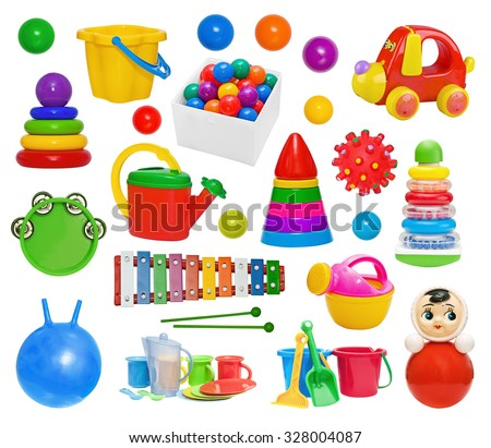 Set of plastic toys: pyramid, hand-pouring pot, glockenspiel, roly-poly, bucket, drum, massage ball, utensils, gymnastic ball isolated on white background - stock photo