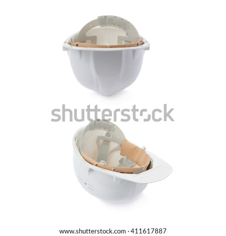 Set of Plastic white safety helmet over isolated white background - stock photo
