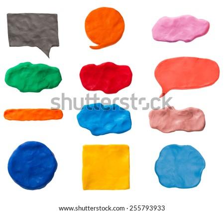Set of plasticine texture and plasticine banner - stock photo