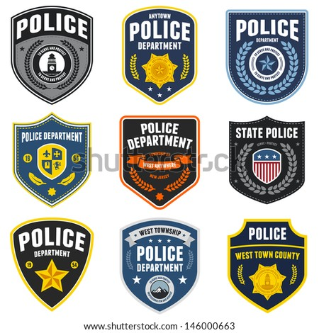 Set of police law enforcement badges and patches - stock photo