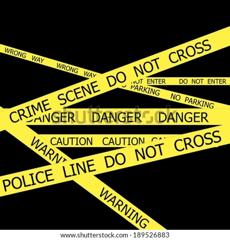 Set of Police tapes on black background - stock photo
