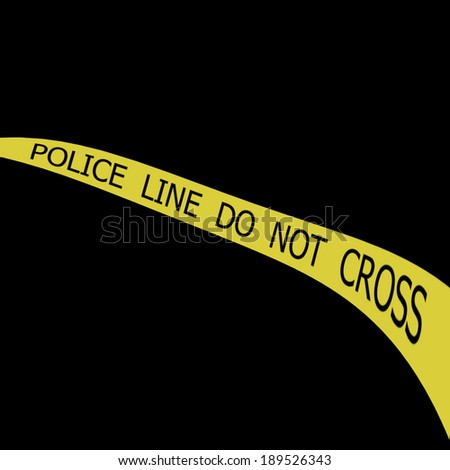Set of Police tapes POLICE LINE DO NOT CROSS on black background - stock photo