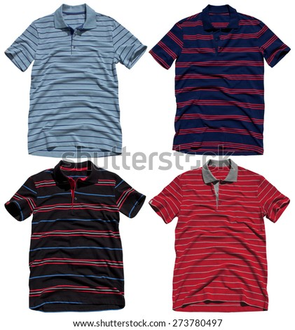 Set of polo shirts isolated on a white background - stock photo