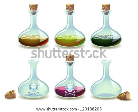 Set of potions and empty vials - stock photo