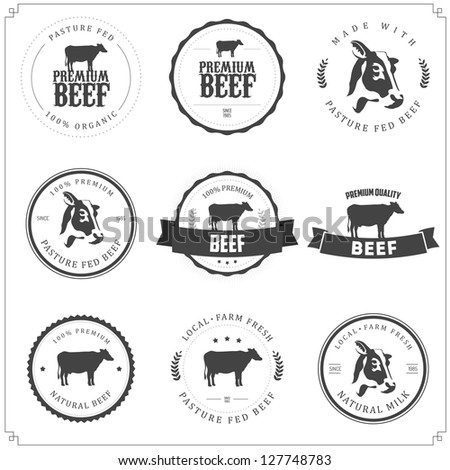 Set of premium beef labels, badges and design elements - stock photo