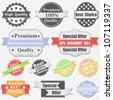 Set of Premium Quality and Sale labels - stock photo