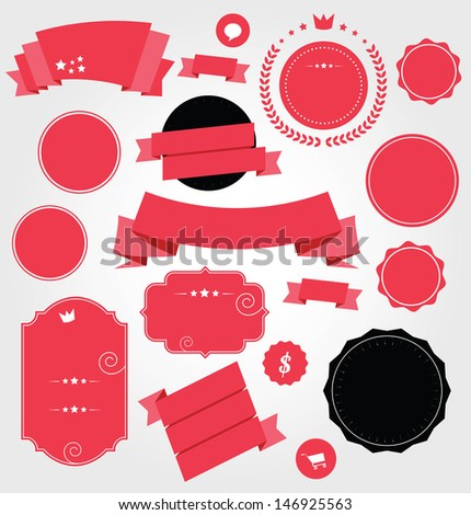 Set of Premium Stickers and Ribbons bitmap copy - stock photo