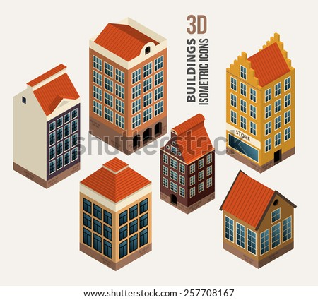 Set of pretty houses, architecture isometric 3d buildings. Icon and symbol, block of flats - stock photo