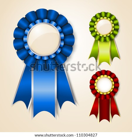 Set of prize ribbons with place for text. Raster version - stock photo