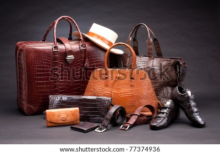 Set of products which made of crocodile leather - stock photo