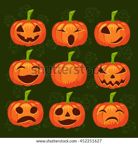 set of pumpkins on green background. Halloween design, emotion, laughing, angry, smiling, sad, scary, evil, winking smile. Jack lantern for website, flier, invitation card - stock photo