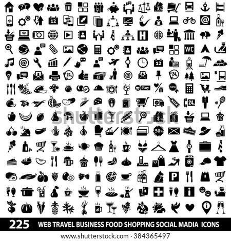 Set of 225 Quality icon Social Media icons, Web icons, Food icons, Shopping, Mobile icons, Travel icons, Camping icons. Icons set jpeg. Icons set image. Icons set illustration - stock photo