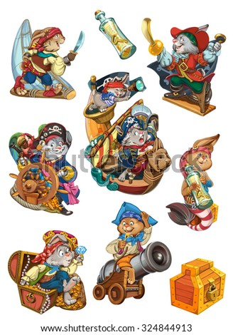 Set of rabbits dressed as pirates. Characters design for invitations or greeting cards. Raster illustration. - stock photo