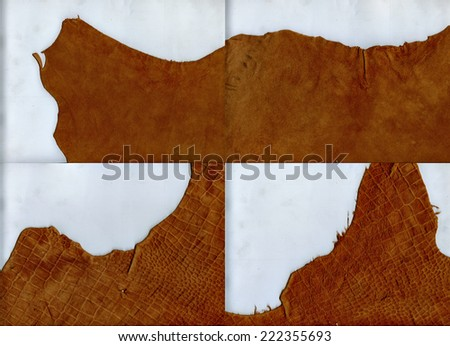 Set of ragged edges brown leather texture - stock photo