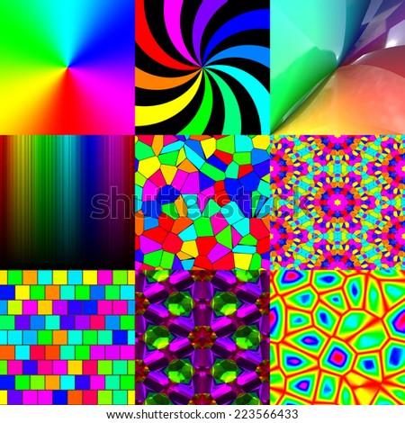 Set of rainbow pattern textures - stock photo