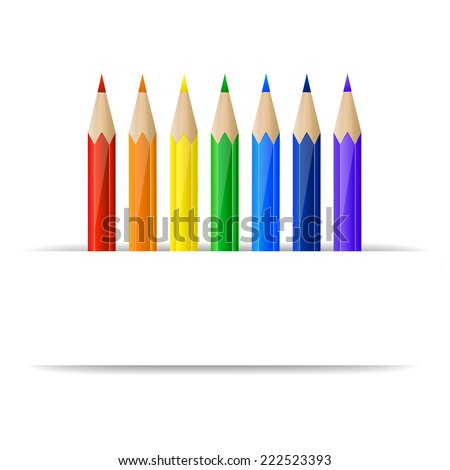 Set of rainbow pencils and blank paper banner - stock photo