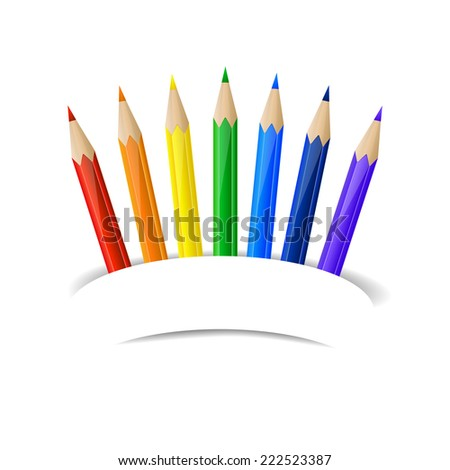 Set of rainbow pencils and paper banner - stock photo