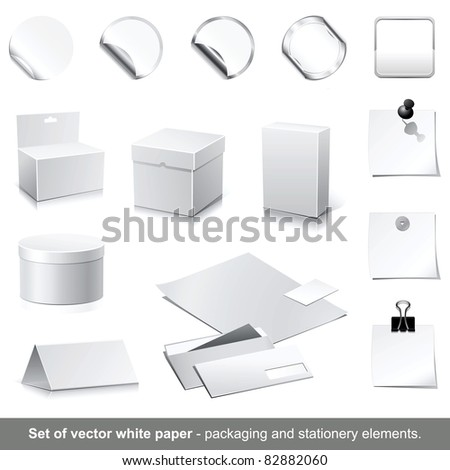 Set of raster white paper - packaging and stationery elements. - stock photo