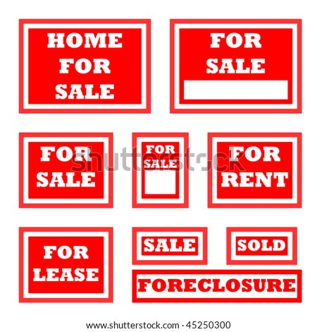 Set of real estate for sale signs with copy space. - stock photo